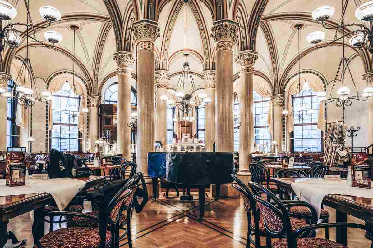 Coffeehouses in Vienna: The elegant interior of the famous Cafe Central. PC: Lisa Stelzel/shutterstock.com