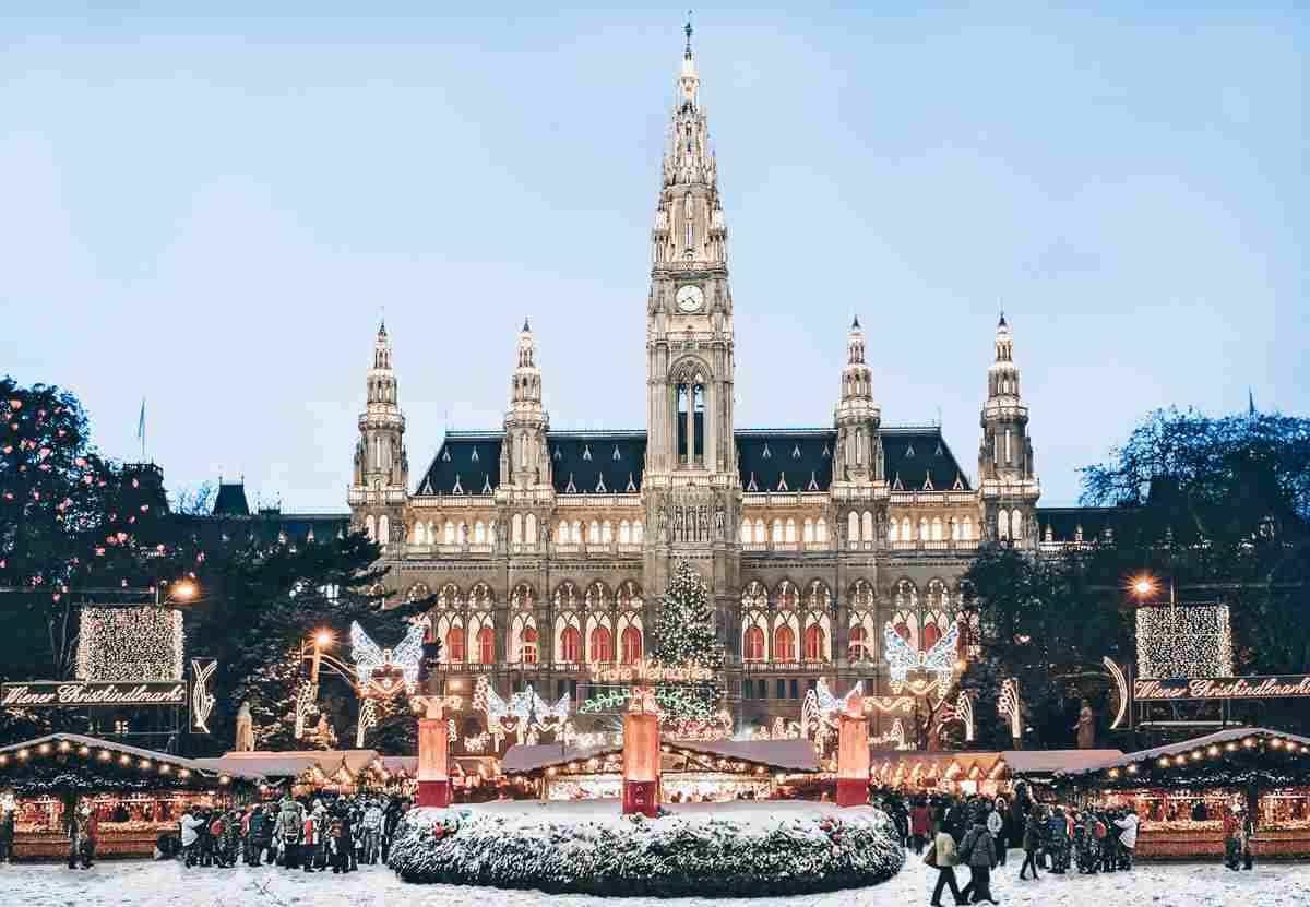 The famous Christmas Market in front of City Hall (Rathaus) in Vienna
