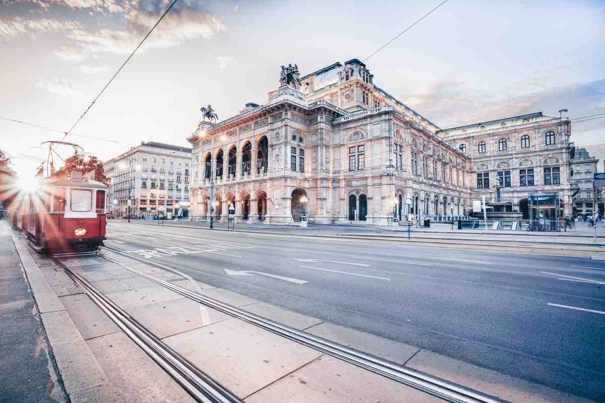 3 Days in Vienna: A tram running on the Ring Road (Ringstrasse) in front of the Vienna Opera House