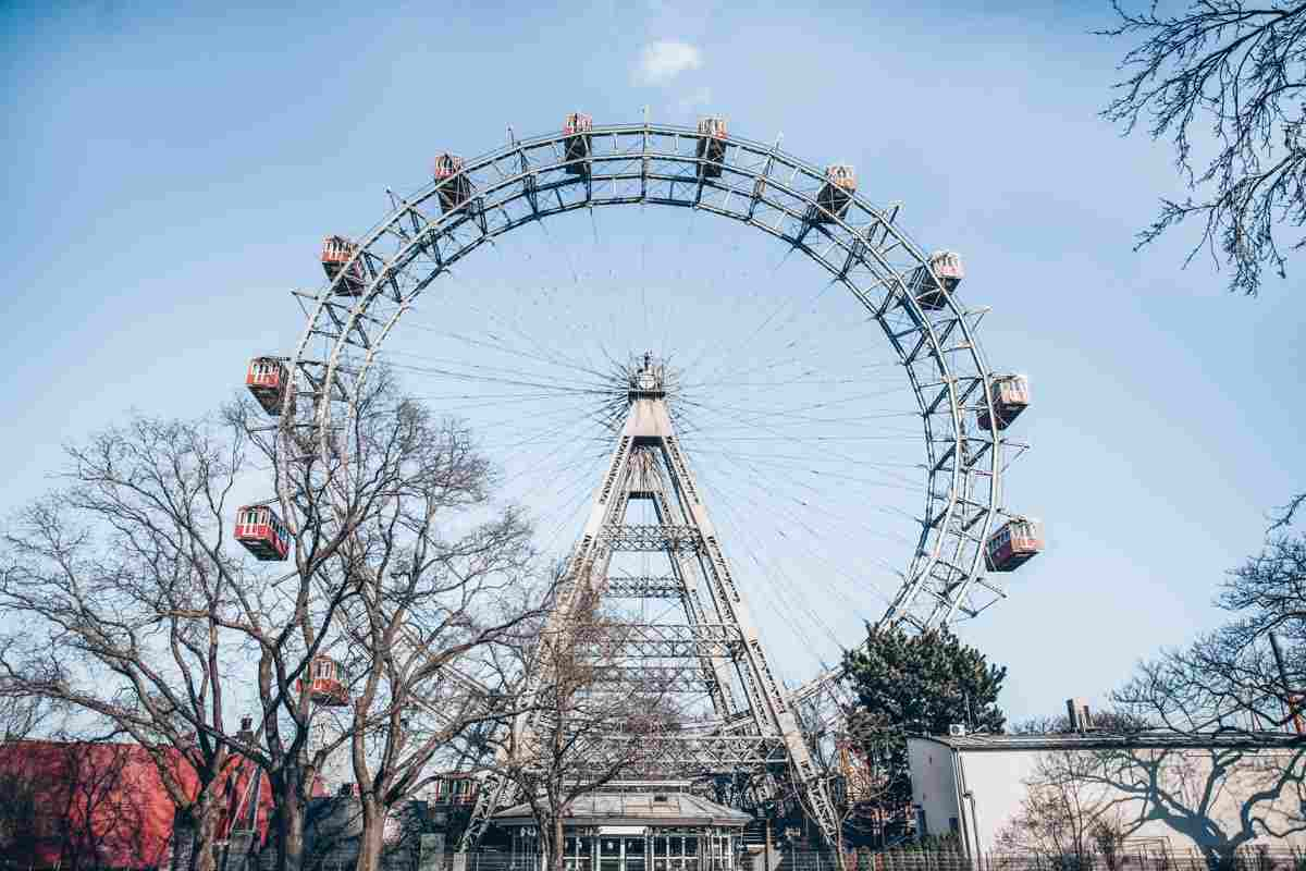 The iconic Giant Ferris Wheel of the Prater Amusement Park in Vienna
