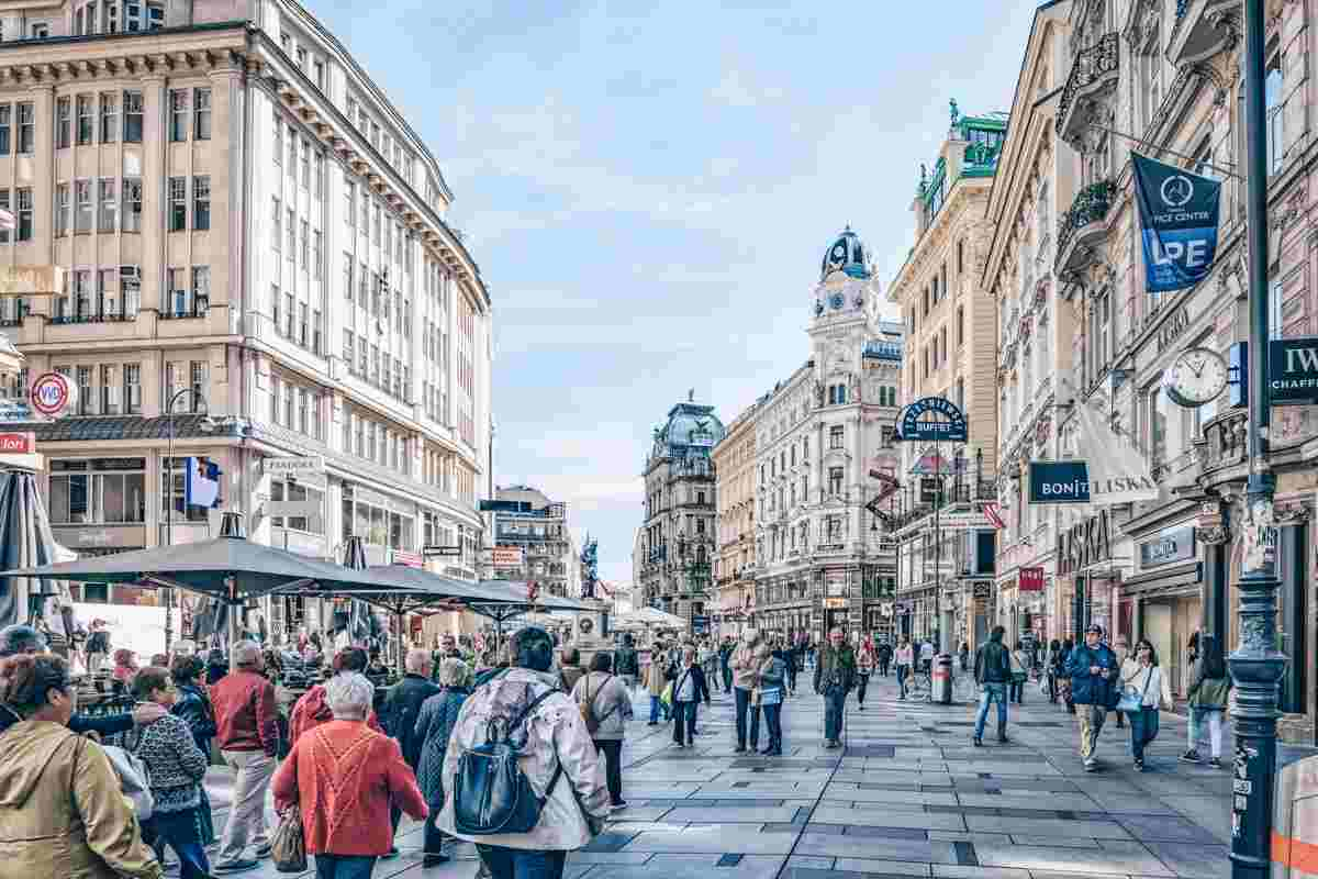 People walking on the famous pedestrianized shopping street of Graben in Vienna. PC: Habrus Liudmila/shutterstock.com