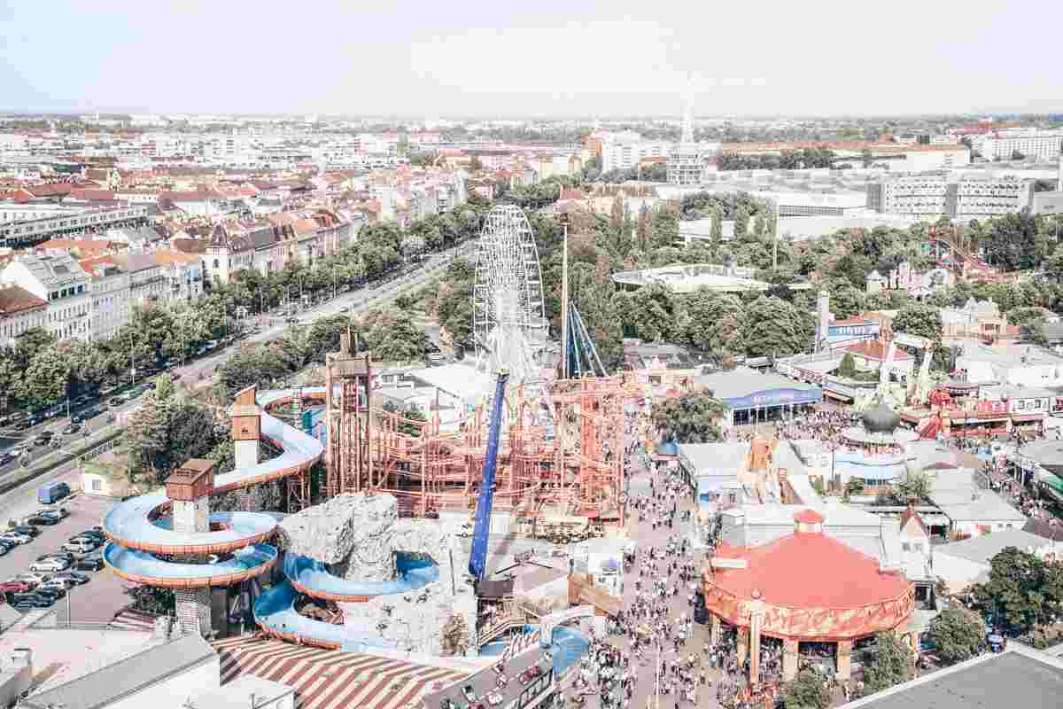 Aerial panorama of the Prater Amusement Park in Vienna