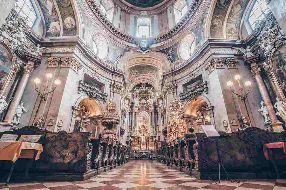 The ornate interior of the St. Peter's Church (Peterskirche) in Vienna. PC: Koba Samurkasov - Dreamstime.com