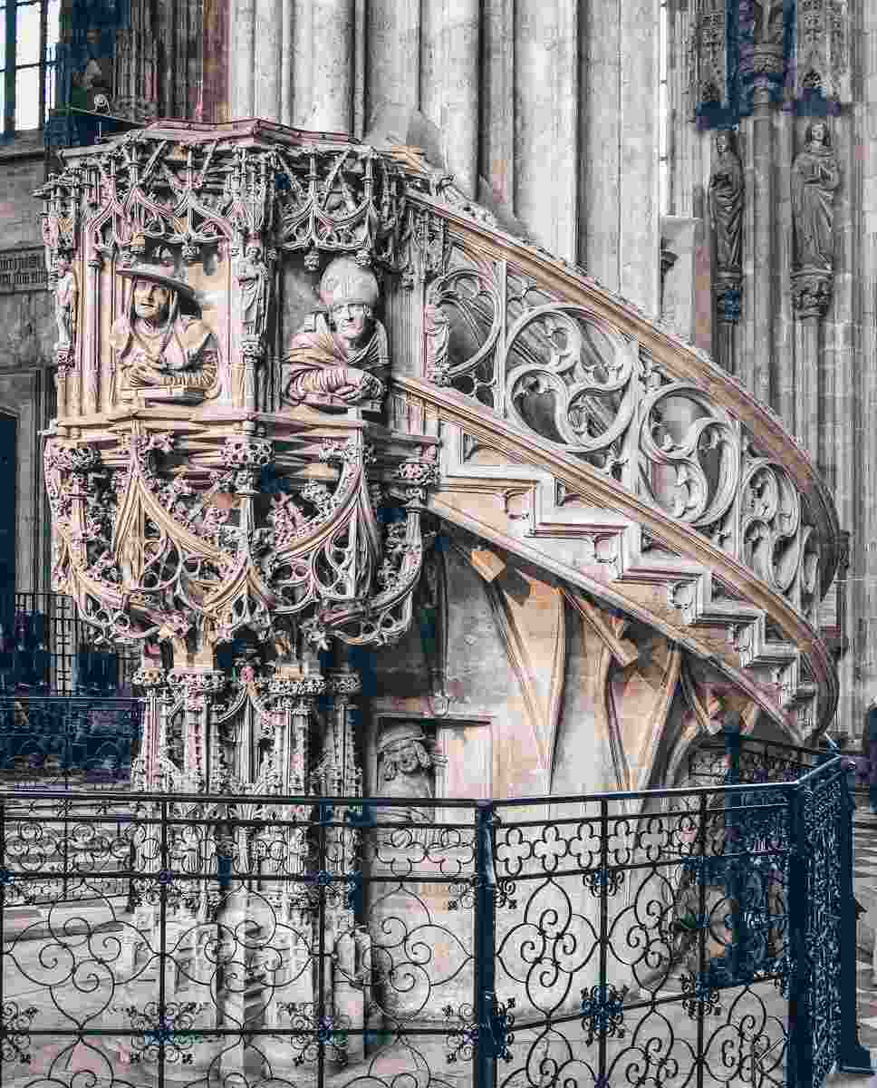 The masterfully carved stone pulpit of St. Stephen's Cathedral in Vienna
