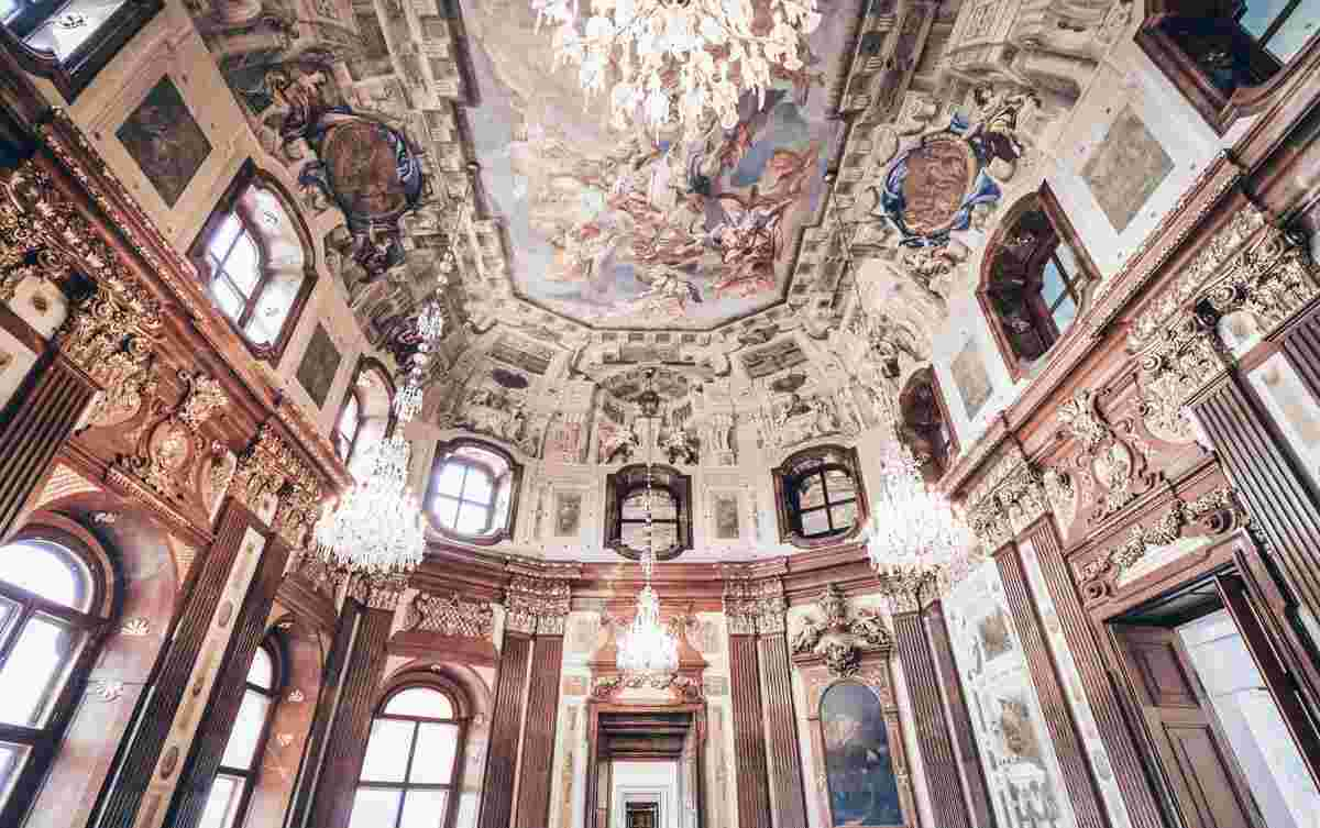 The ornate frescoed interior of the Marble Hall of the Upper Belvedere Palace Vienna. PC: Marco Brivio - Dreamstime.com