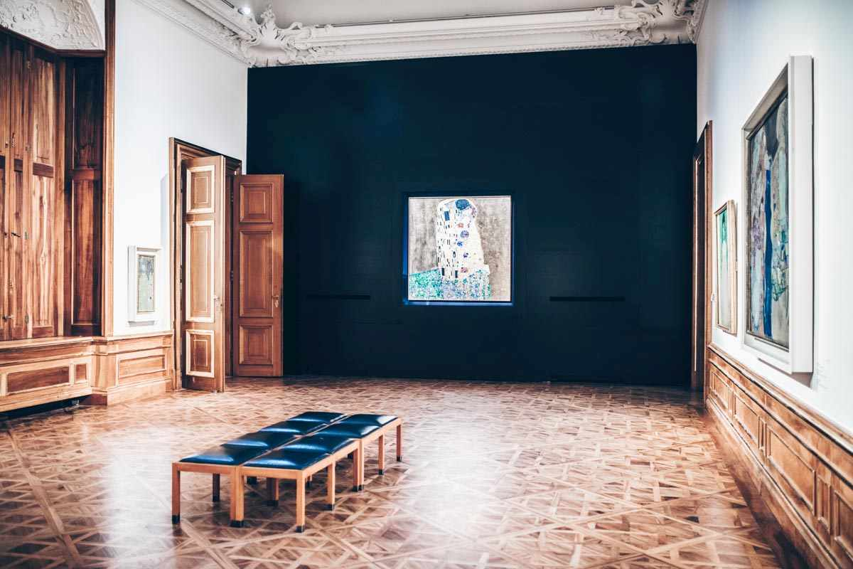"""Gustav Klimt's famous painting """"The Kiss"""" at the Upper Belvedere Palace in Vienna. PC: BondRocketImages/shutterstock.com"""