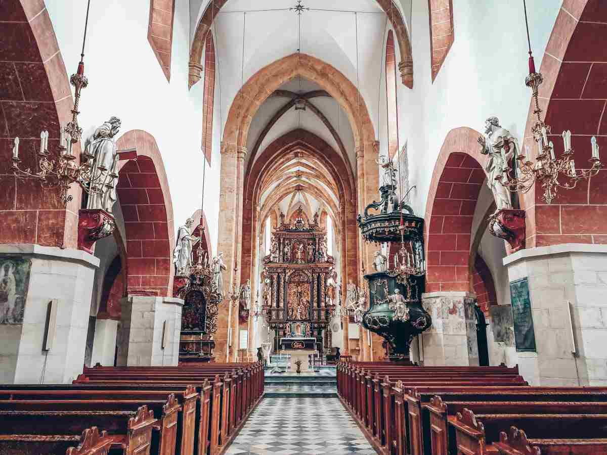 The Gothic and Baroque interior of the Church of St. Matthew in Murau