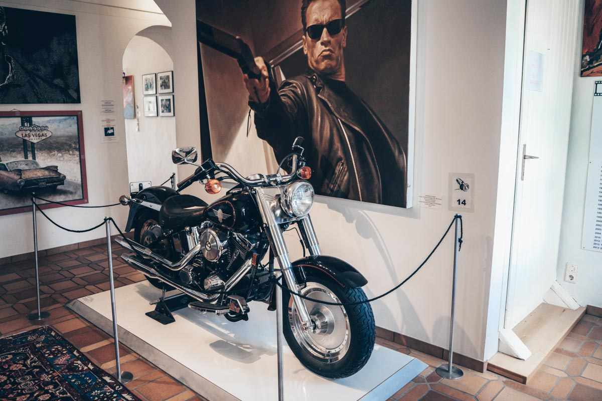 Day Trips from Graz: The Harley Davidson motorbike from the Terminator films on display at Schwarzenegger Museum
