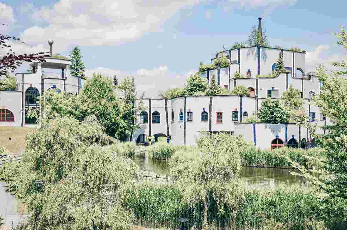 Day Trips From Graz. Exterior of the famous Hundertwasser designed Bad Blumau spa