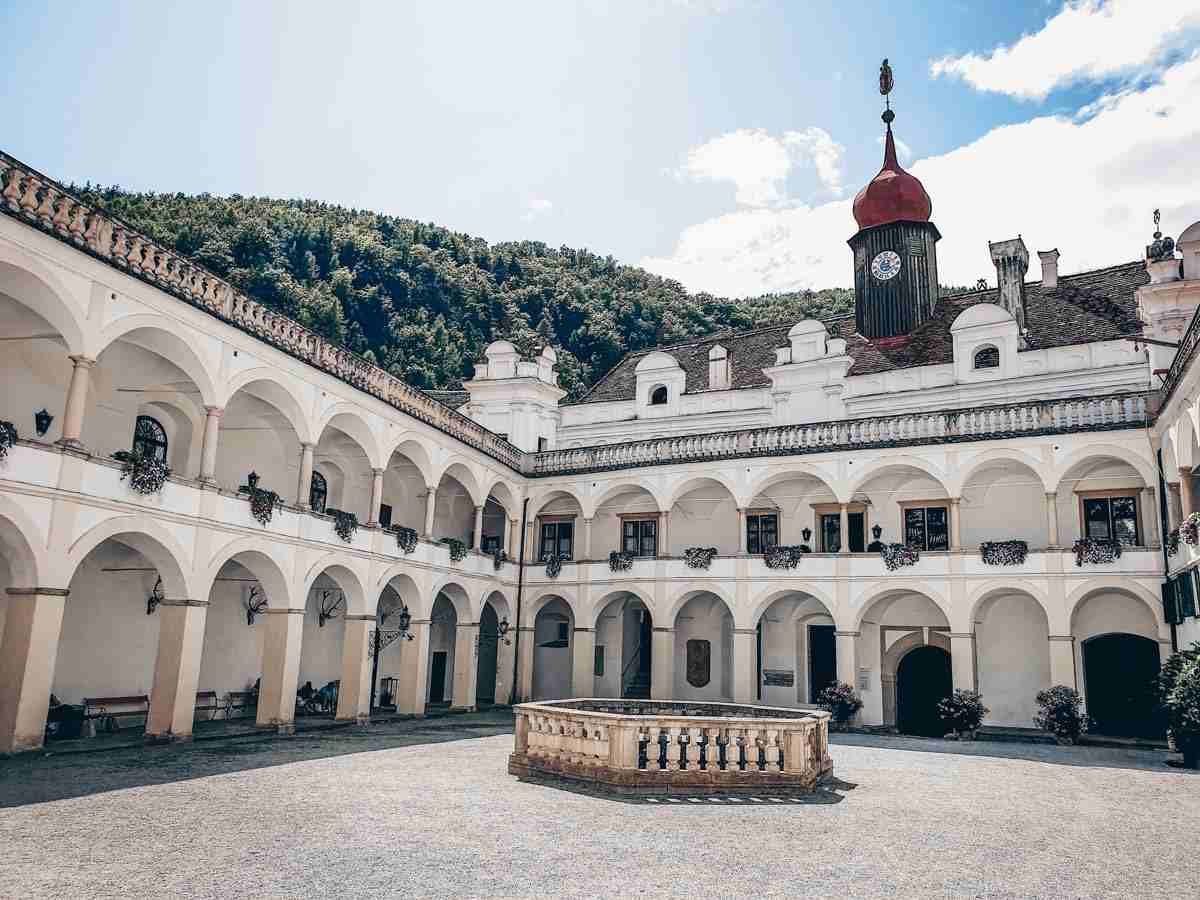 The lovely Renaissance-style arcaded courtyard of Herberstein Castle