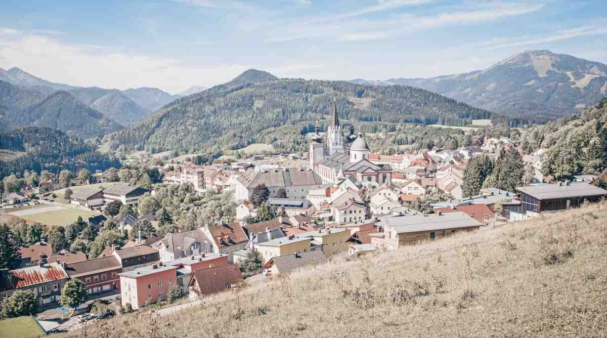 Things to see in Austria: Panorama of the town of Mariazell and the surrounding mountains