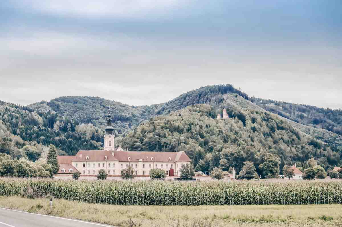 Panoramic view of the Rein Abbey (Stift Rein) and the surrounding mountains