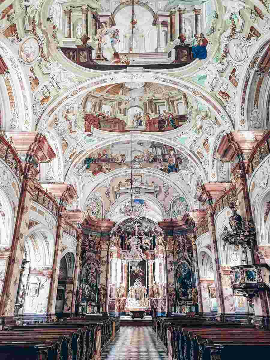Rein Abbey: Magnificent ceiling frescoes and opulent Baroque interior of the church