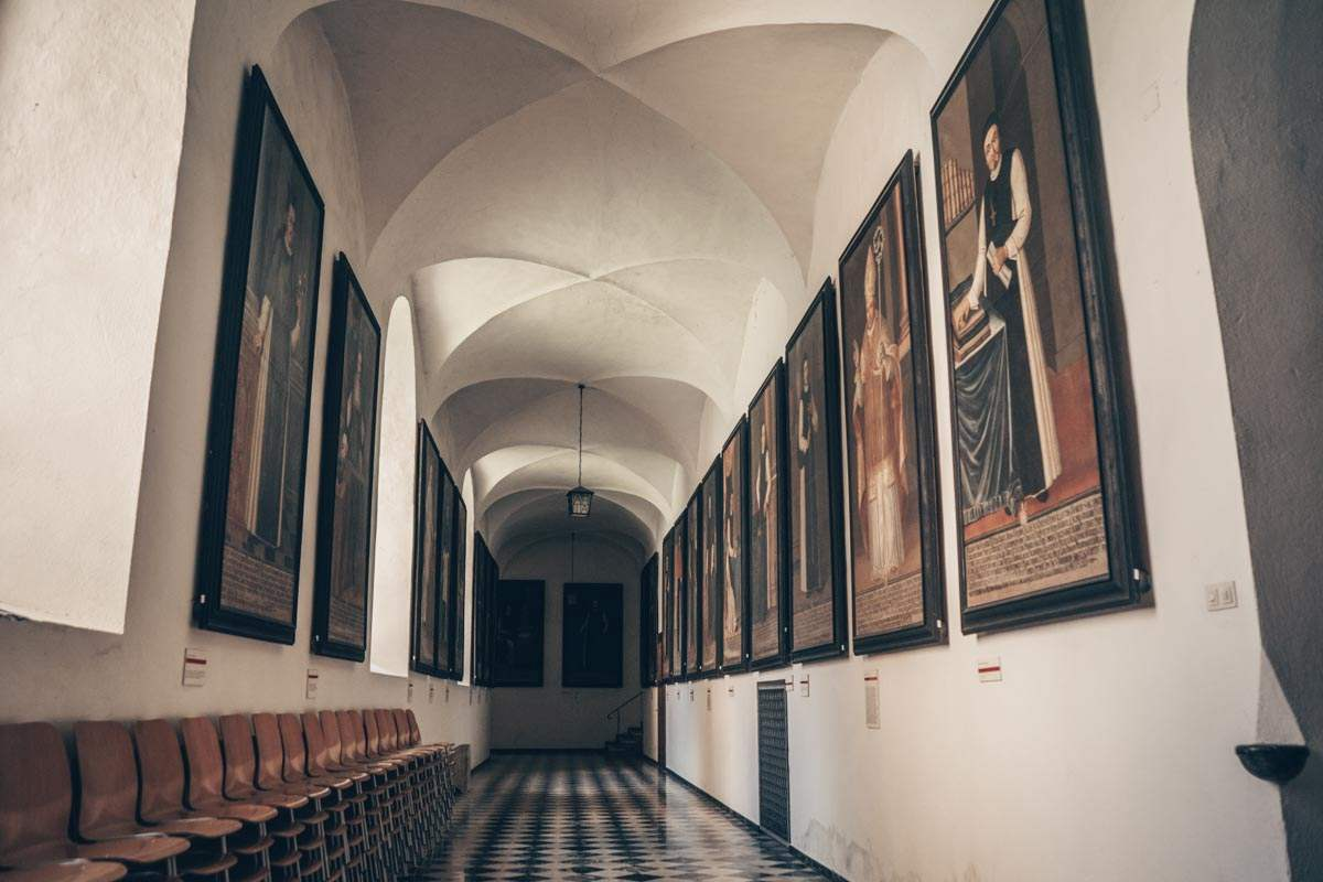 Rein Abbey: The lovely Abbot Gallery with life-size portraits of the Abbots of Rein Abbey,