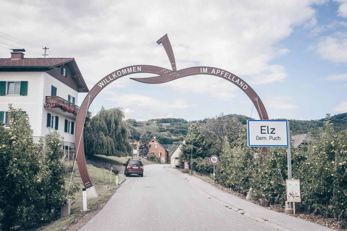 Large apple sign on the picturesque Styrian Wine Road (Steirische Apfelstrasse)