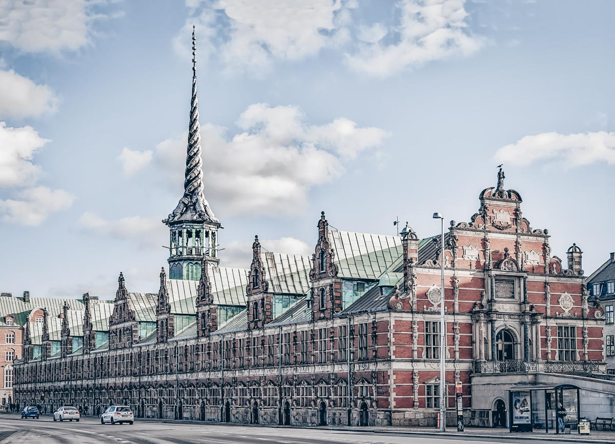 Immaculate Renaissance facade and copper roofs of the Old Stock Exchange in Copenhagen