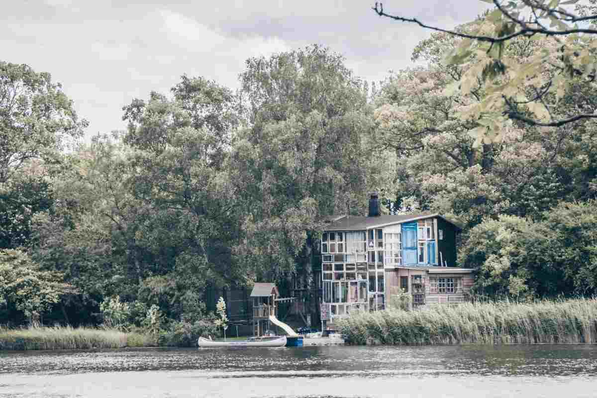Interesting architecture of a house by the lake at Christiania in Copenhagen