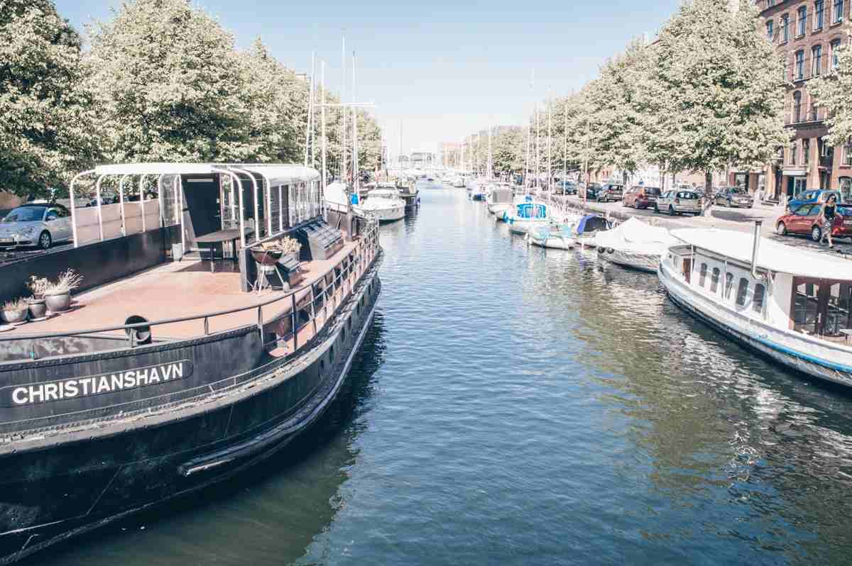Boats docked in the canal of the Christianshavn district of Copenhagen
