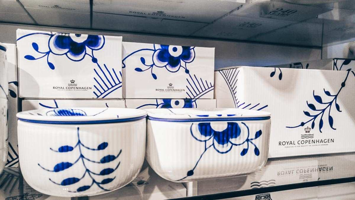 Traditional Danish Souvenirs: Royal Copenhagen Porcelain on display at a store