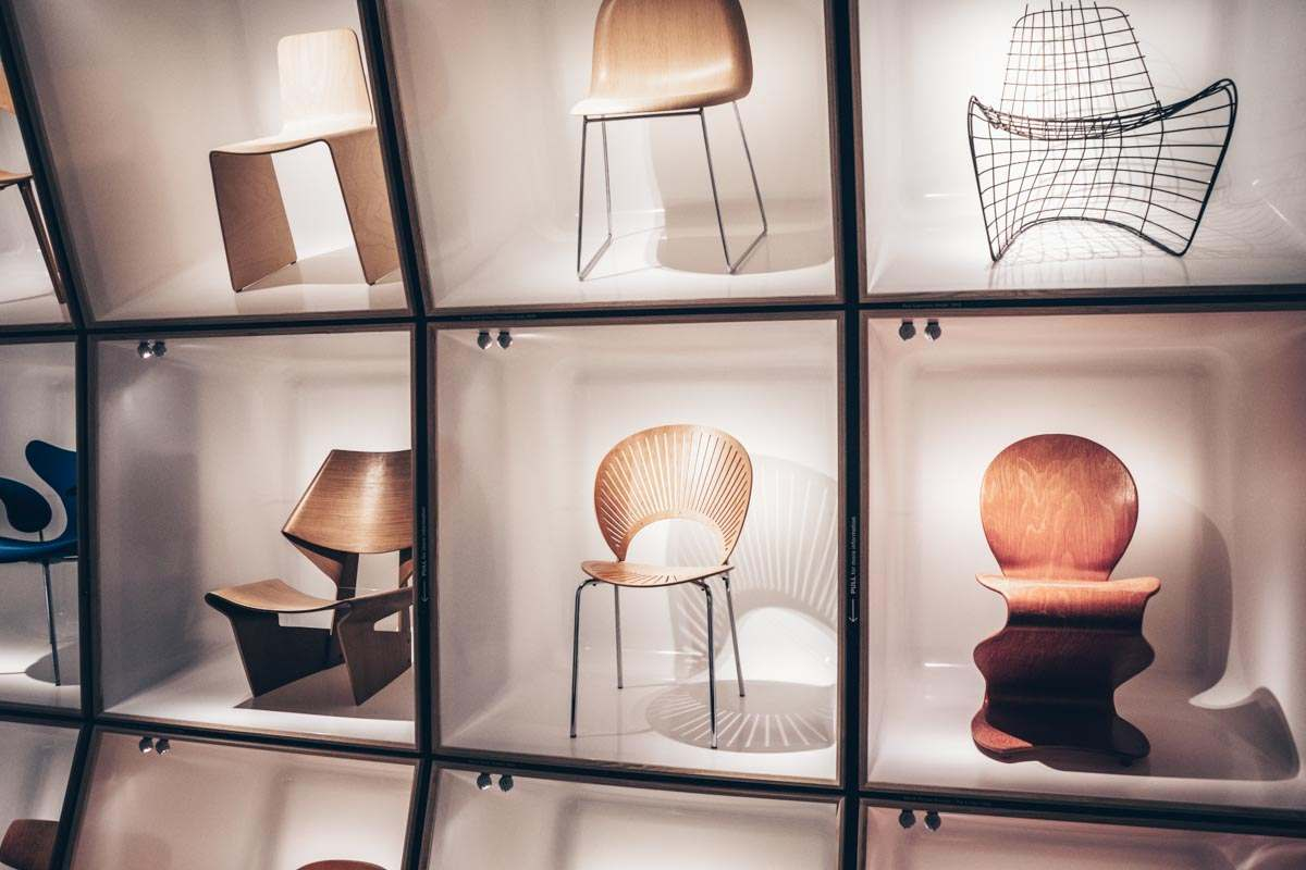 Various chairs on display at the Design Museum in Copenhagen