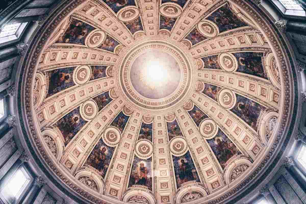 Rich frescoes on the the inside of the dome of Frederik's Church