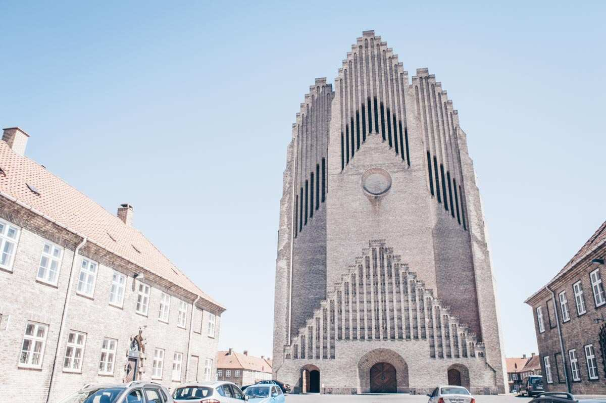 Copenhagen attractions: Exterior of the huge Brick Expressionist Grundtvig's Church