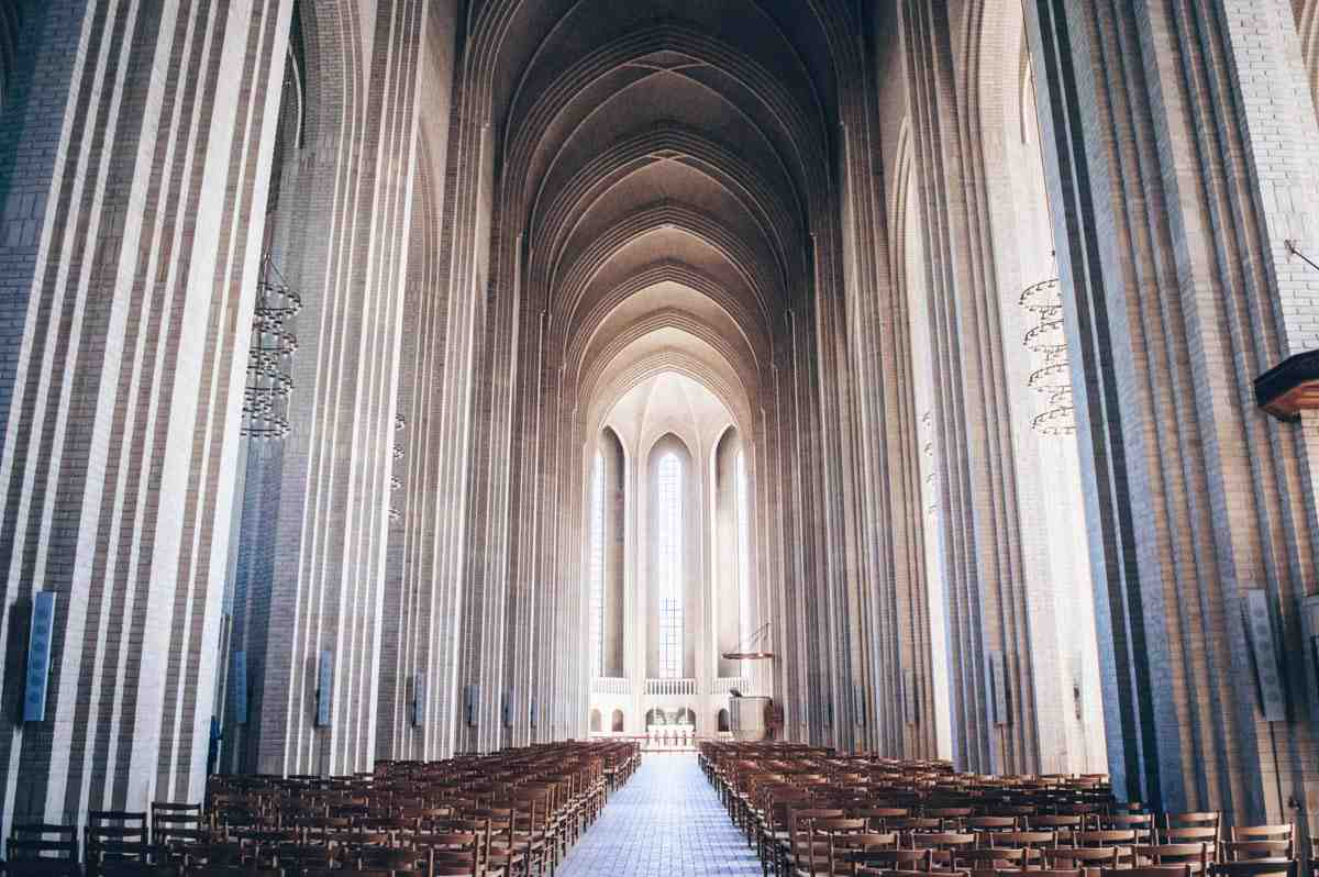 The cavernous, unadorned interior of the Grundtvig's Church in Copenhagen