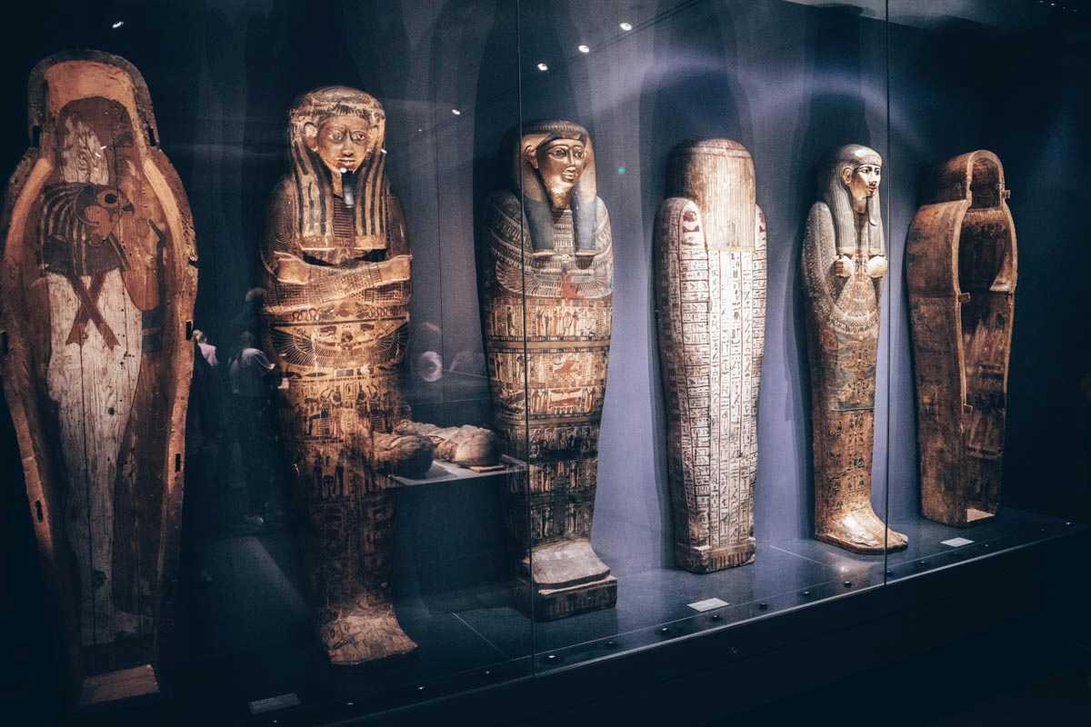 Egyptian mummies on display at the Ny Carlsberg Glyptotek Museum