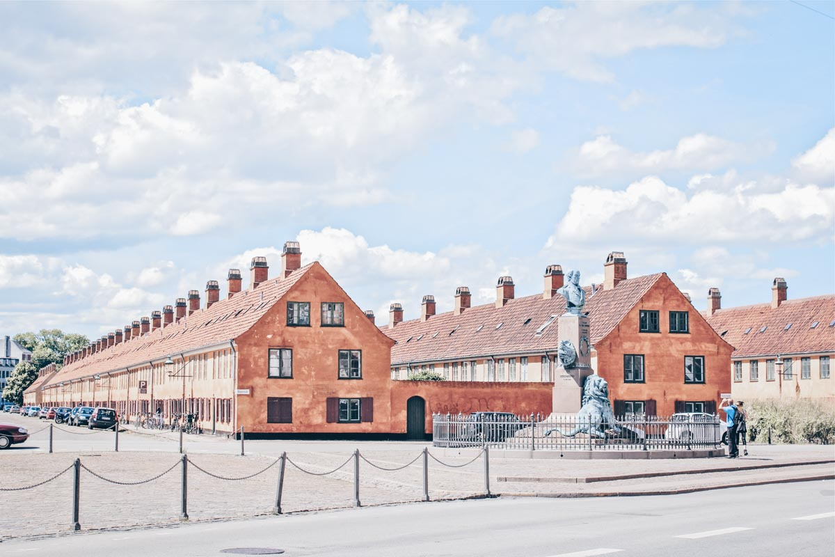 Copenhagen points of interest: View of the historic yellow buildings of Nyboder