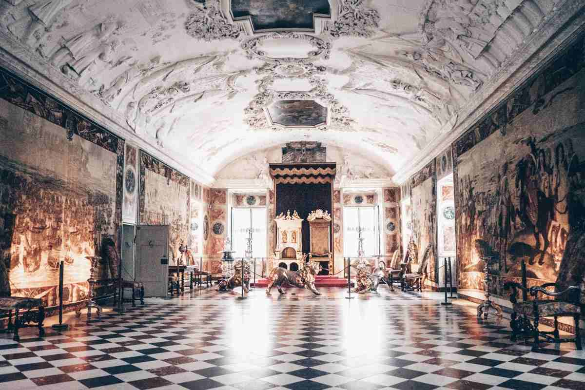 17th-century tapestries and the King's throne inside the Long Hall of Rosenborg Castle
