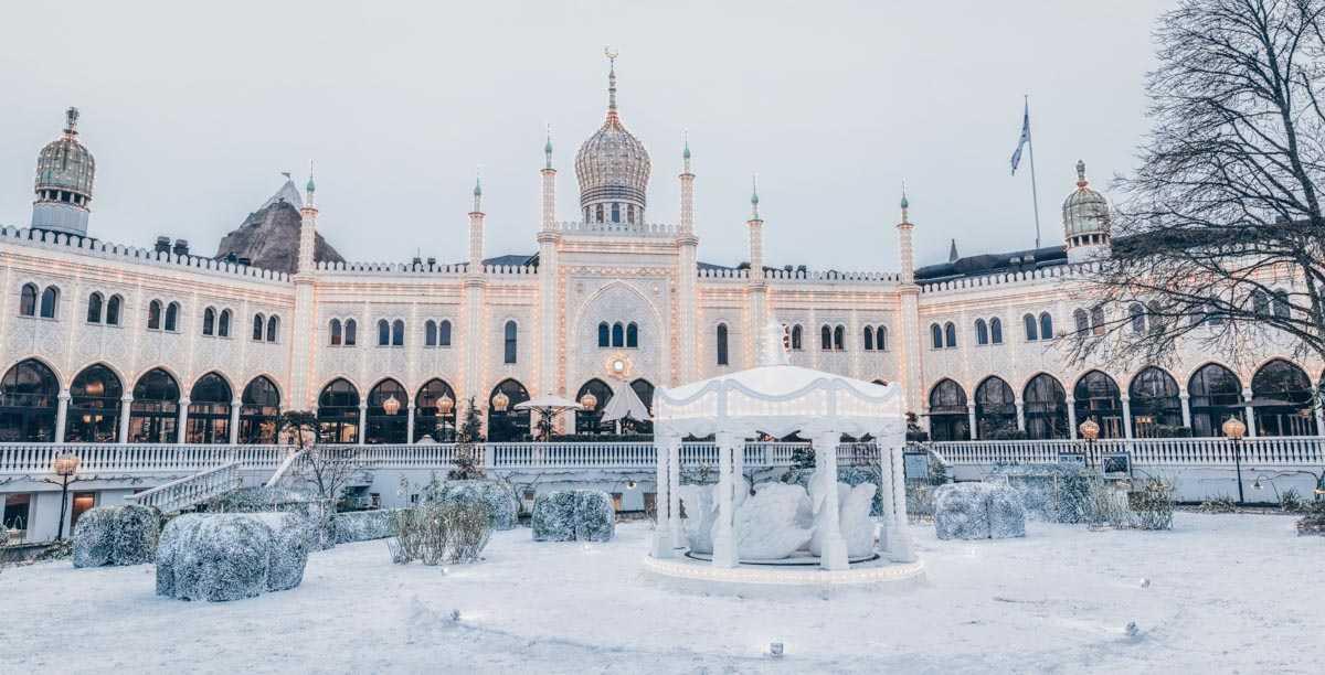 Copenhagen Tivoli Gardens: The Moorish-style onion-domed Nimb Hotel in winter