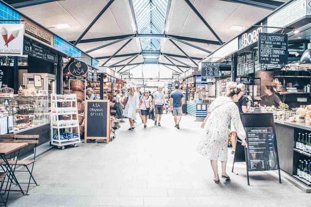 Copenhagen attractions: People walking inside the Torvehallerne Market Hall