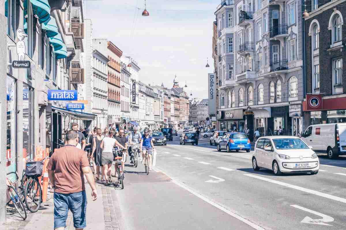 People and traffic along Vesterbrogade in the Vesterbo district of Copenhagen