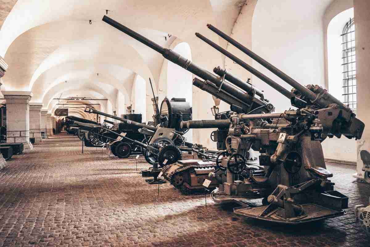 Historical guns, canons, and howitzers on display at the Danish War Museum in Copenhagen