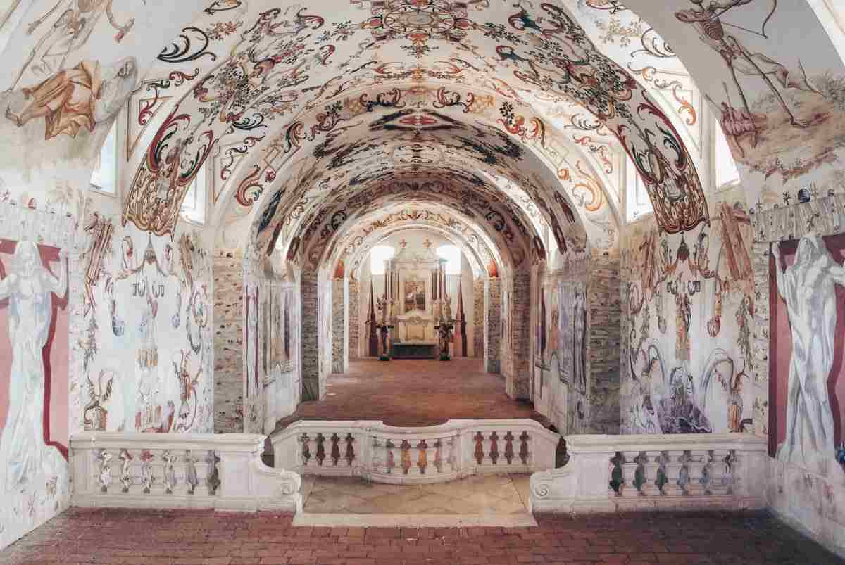 Stunning ceiling paintings depicting the Dance of Death in the crypt of Altenburg Abbey