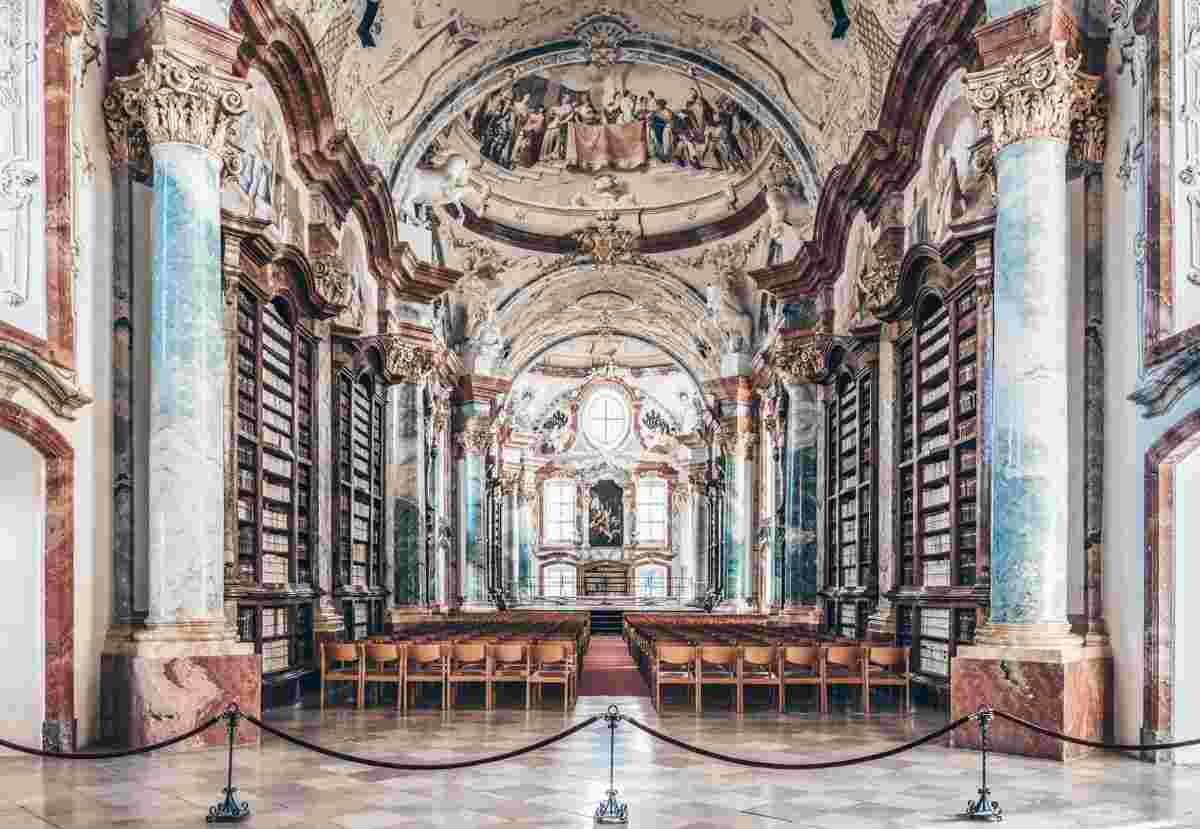 Stupendous ceiling frescoes and Rococo interior of the library of Altenburg Abbey. PC: Uoaei1 / CC BY-SA (https://creativecommons.org/licenses/by-sa/4.0), via Wikimedia Commons