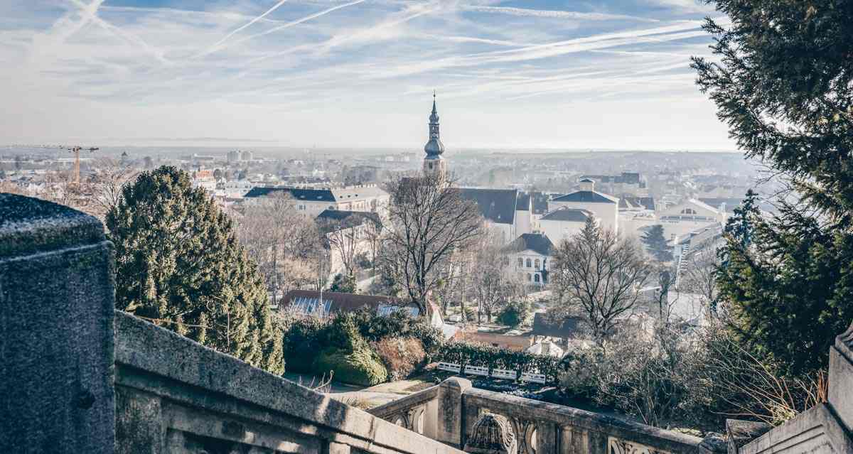 Places to see in Austria: Panoramic view of the town of Baden bei Wien