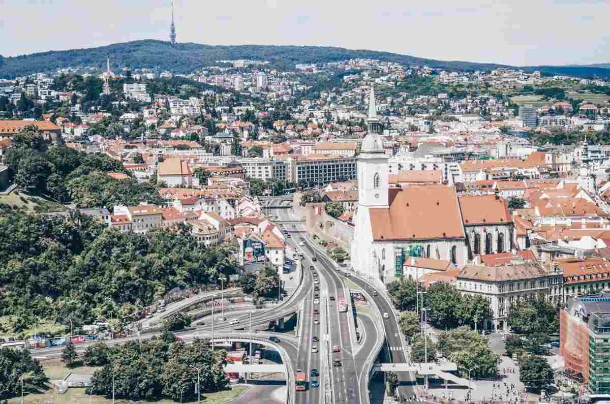 Aerial view of St. Martin's Cathedral and the center of Bratislava