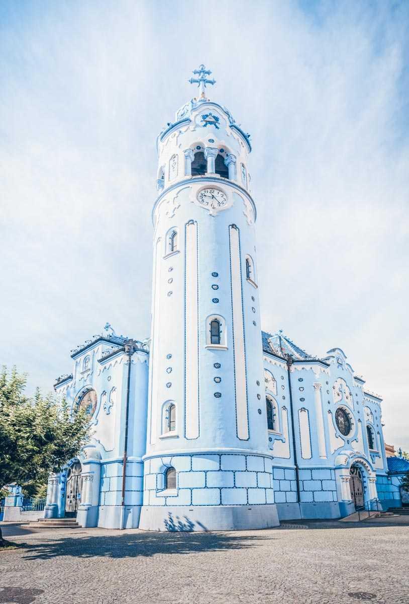 Bratislava attractions:  The gorgeous facade of the Art Nouveau Blue Church