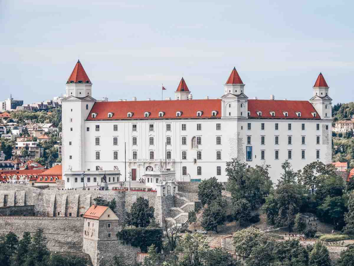 The characteristic red and white exterior of the Bratislava Castle