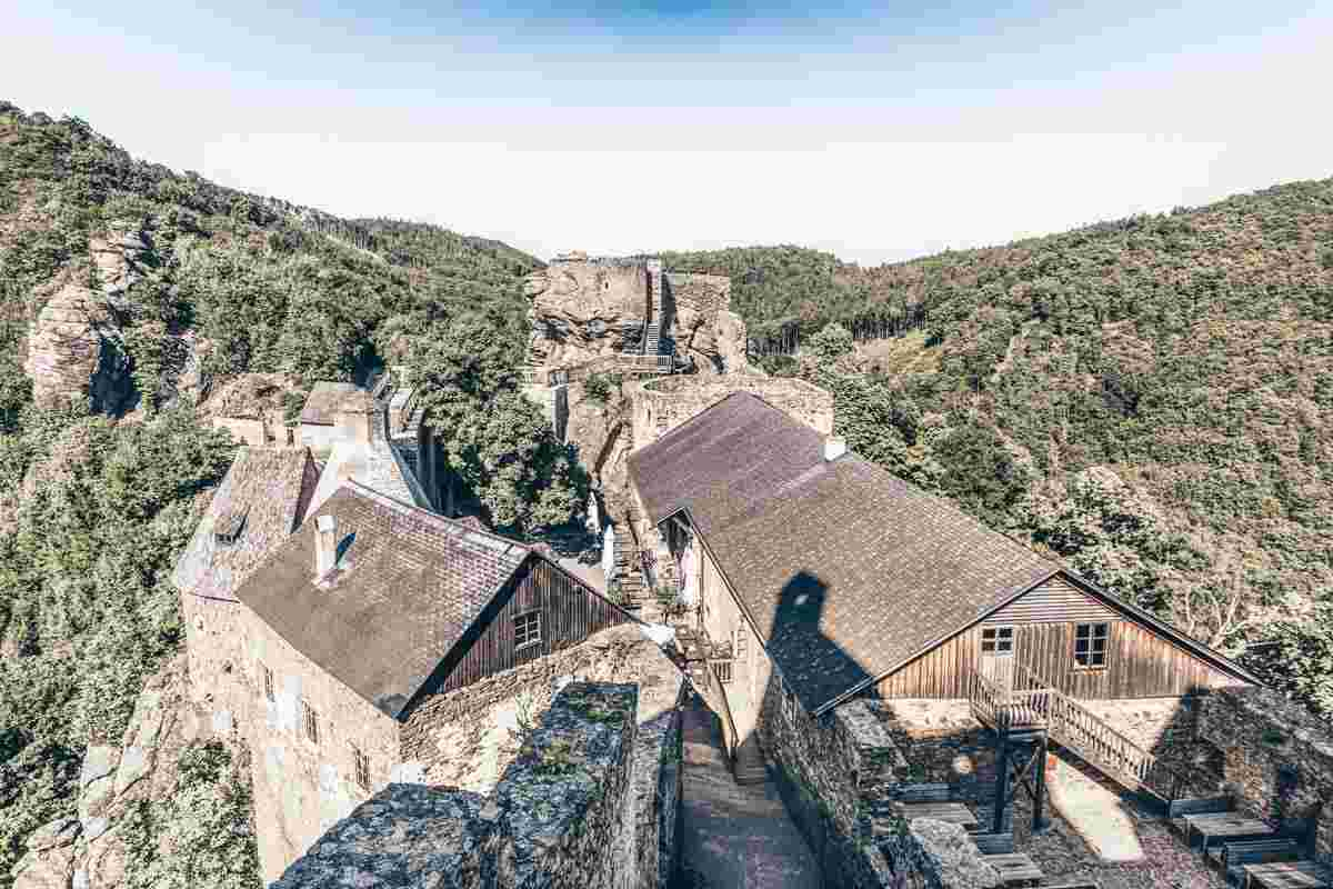 Castles in Austria: Outer defences and courtyards of Aggstein Castle