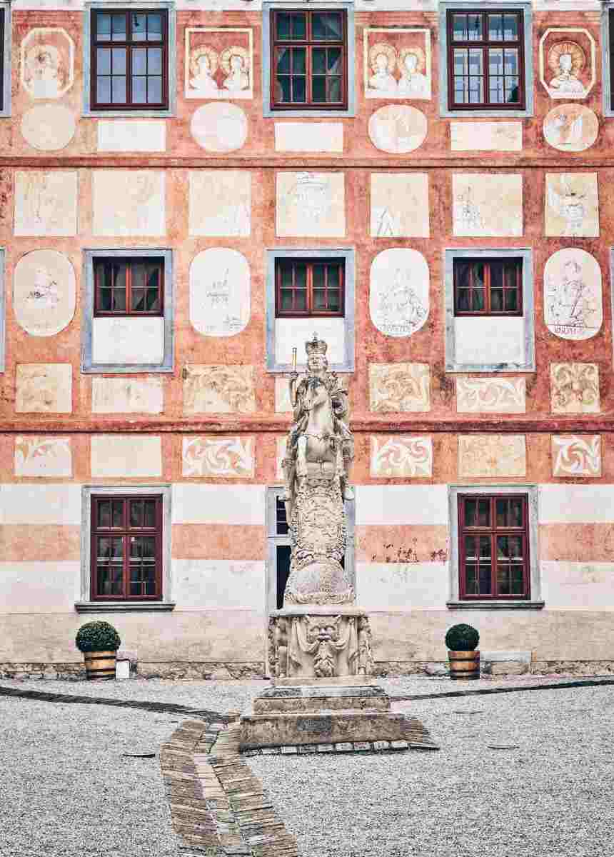 The sublime frescoed courtyard of Forchtenstein Castle