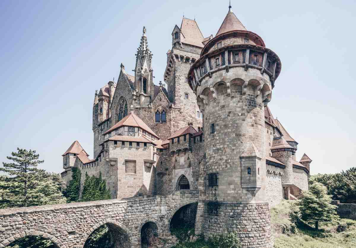 Castles in Austria: The Romanesque-Gothic exterior of the magnificent Kreuzenstein Castle