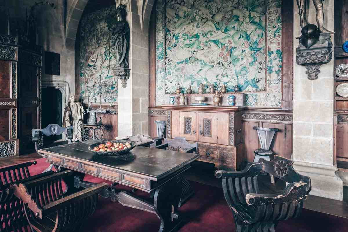 Antique furnishings and decorative tapestries of the Knight's Hall at Kreuzenstein Castle. PC: posztos/shutterstock.com