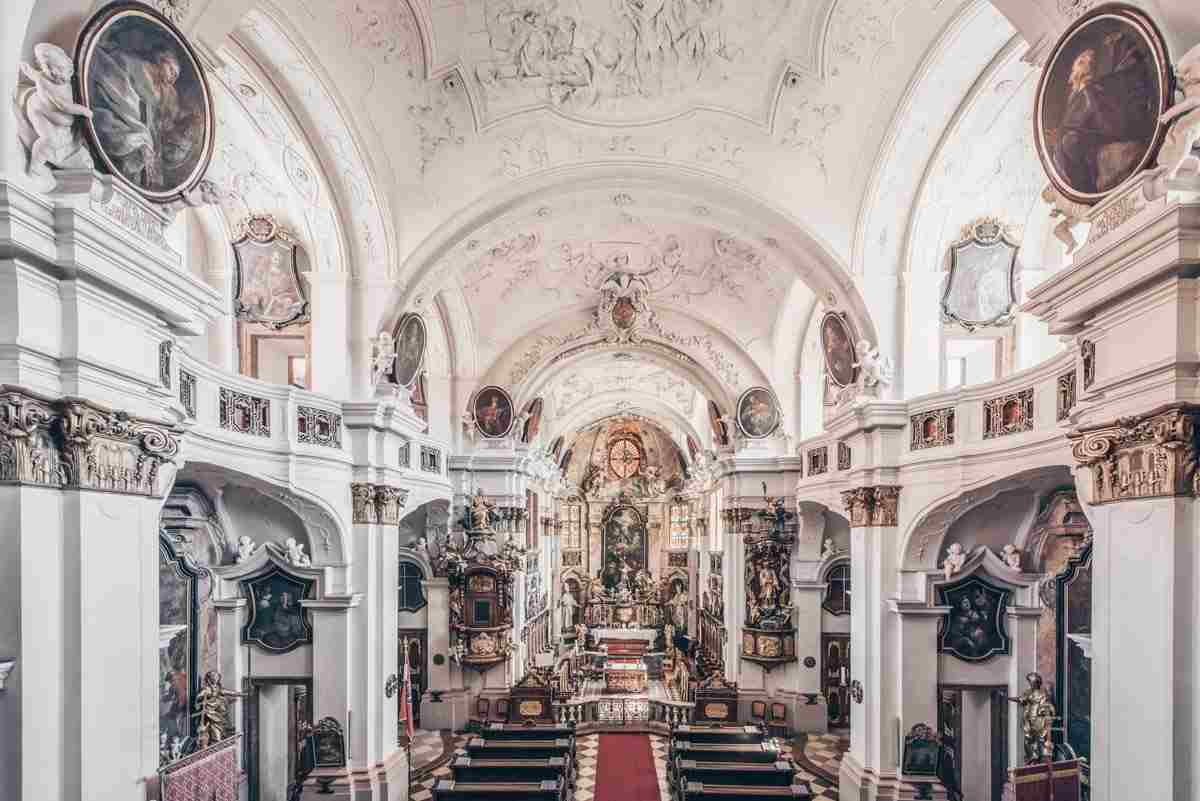 The ornate interior of the Collegiate Church of the Assumption of the Virgin Mary in Dürnstein