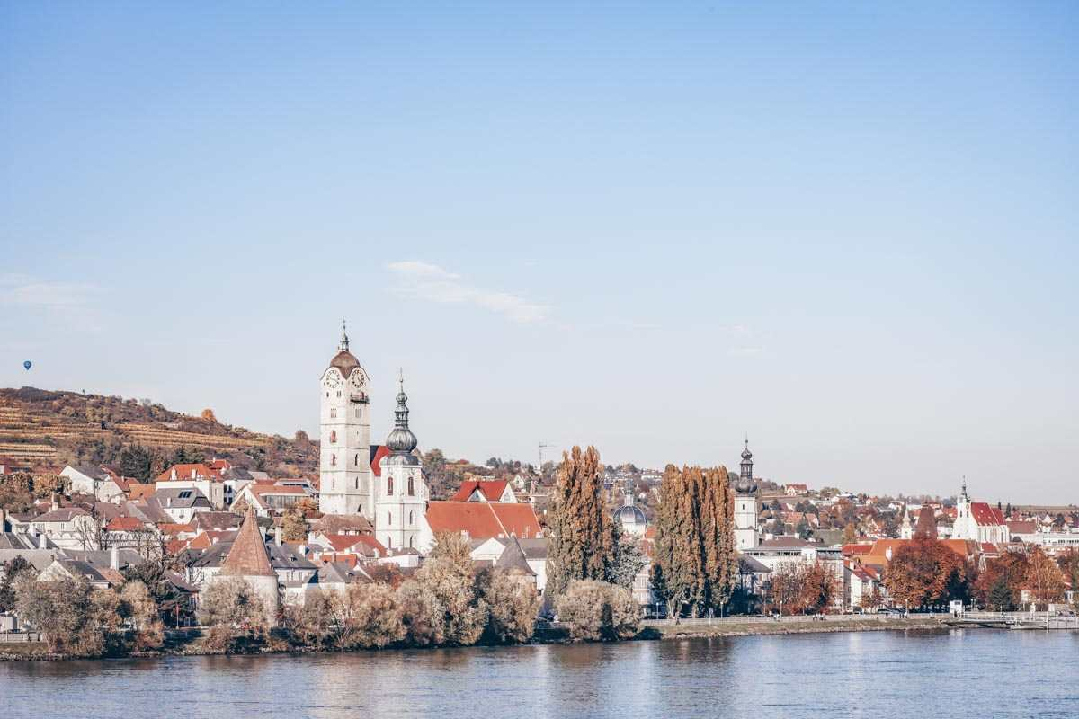 The cityscape of Krems an der Donau and the Danube River