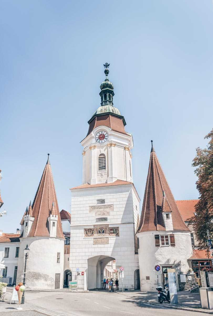 The belfried 15th-century Steiner Gate (Tor), flanked by two bastions in Krems an der Donau