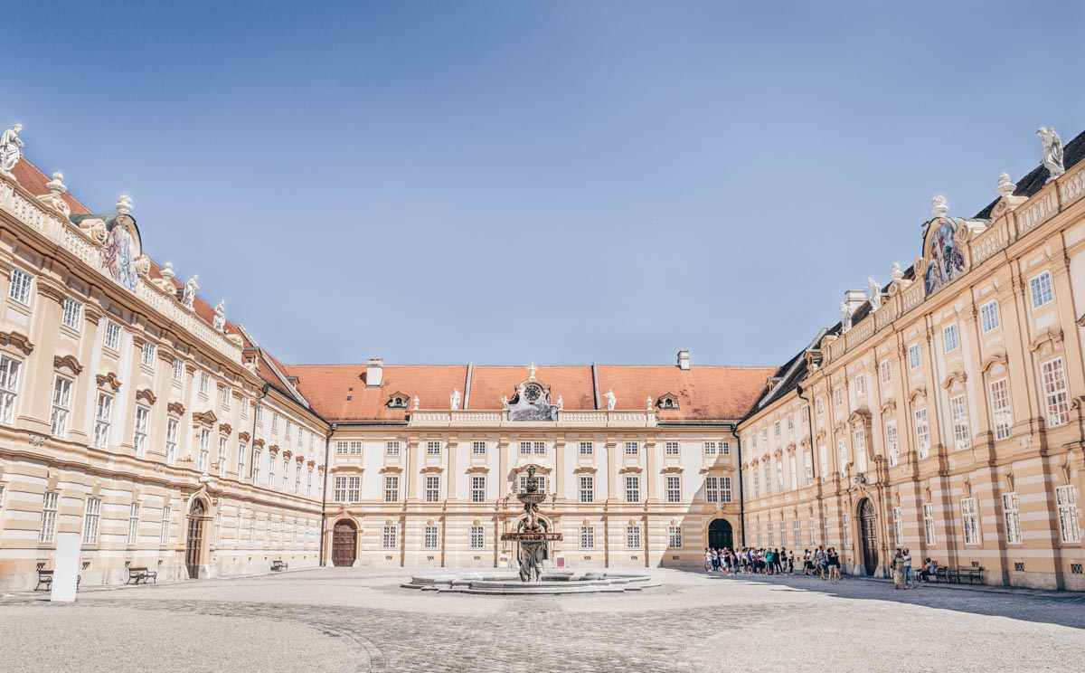 the majestic Prelates' Courtyard of the Melk Abbey (Stift Melk)