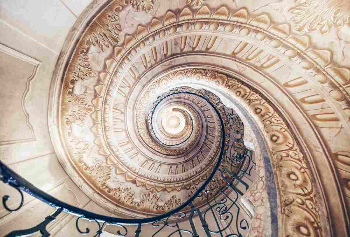 The unbelievably ornate spiral staircase of the Melk Abbey