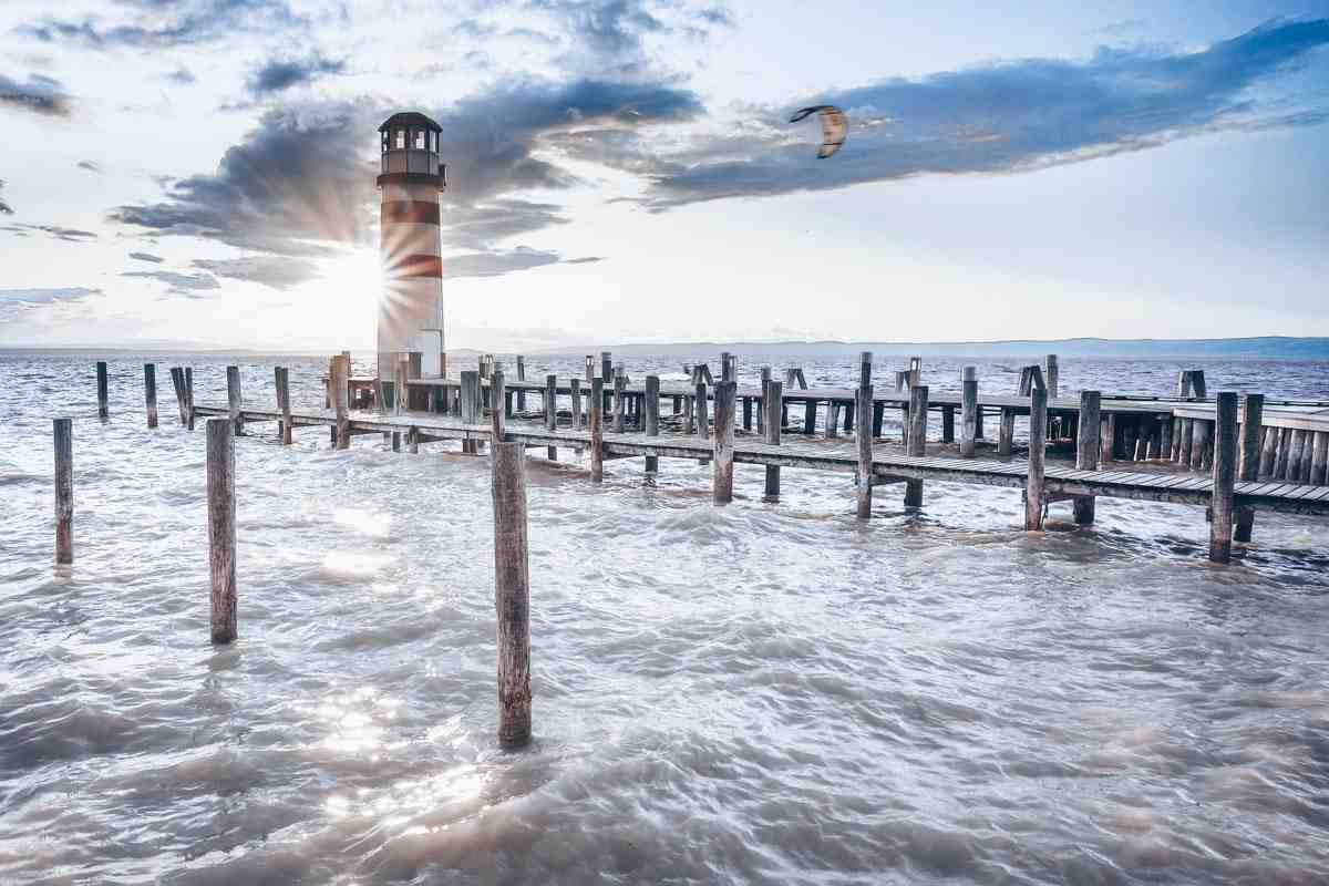 Lake Neusiedl: View of the famous red and white lighthouse of Podersdorf am See